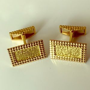 18k yellow gold picture frame cufflinks
